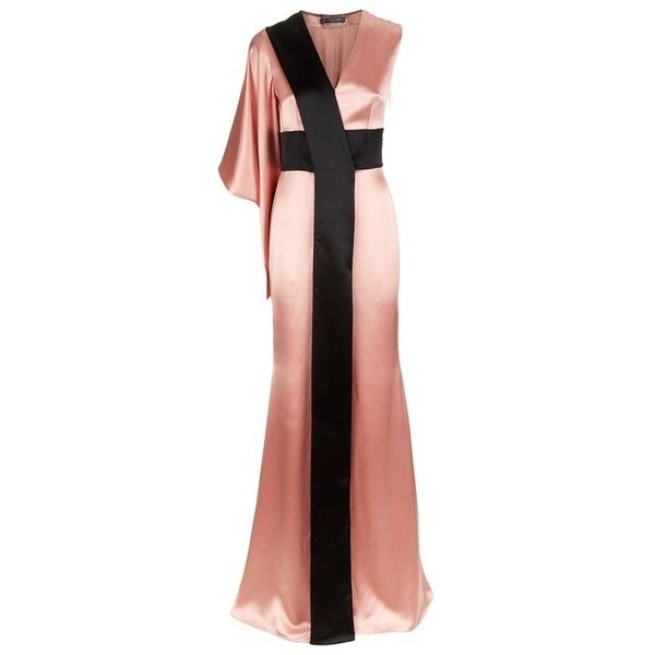 Alexander McQueen Satin One Sleeve Kimono Gown ($4,085) ❤ liked on Polyvore featuring dresses, gowns and alexander mcqueen