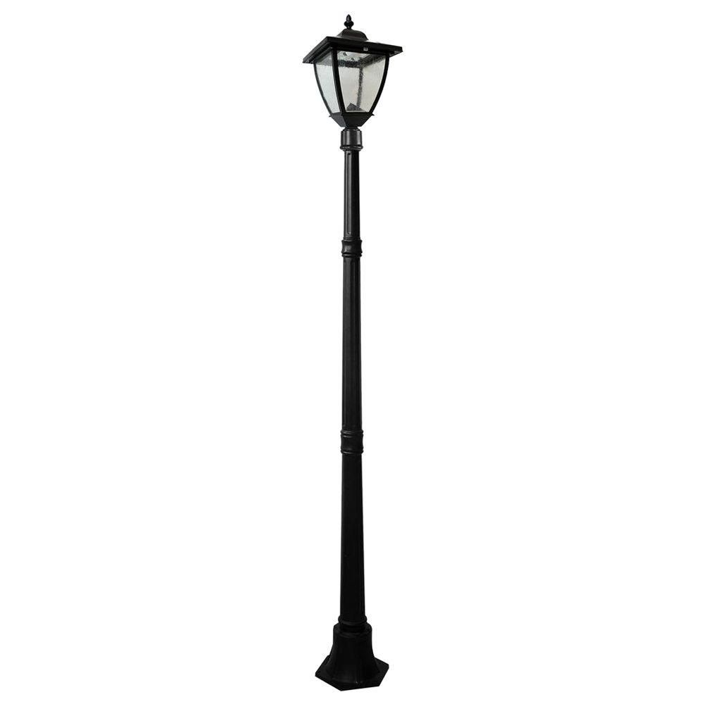 bayport 72 in outdoor black solar lamp post with super bright rh pinterest com Lamp Post Wiring Underground Wood Lamp Posts Residential