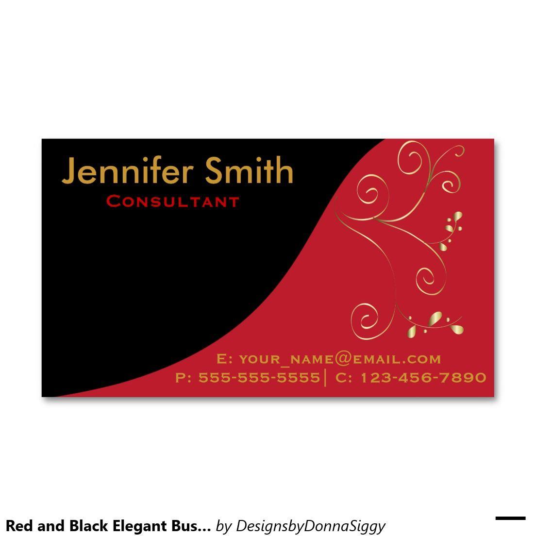tarjetas de visita elegantes rojas y negras