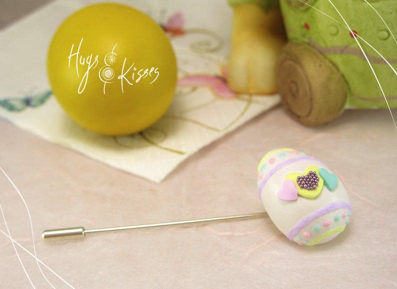 Easter Egg BroochWhite Chocolate Brooch Mini Food Jewelry
