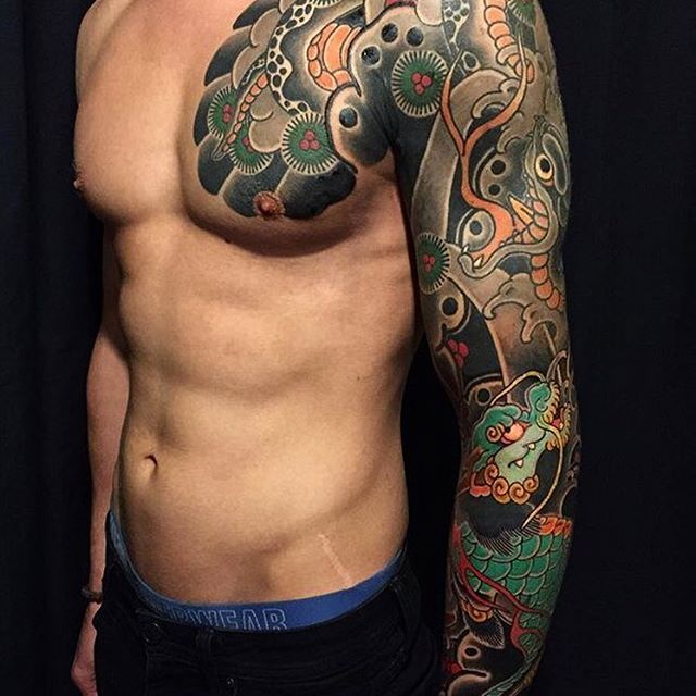 japanese tattoo sleeve by horimatsu bunshin japaneseink japanesetattoo irezumi tebori. Black Bedroom Furniture Sets. Home Design Ideas