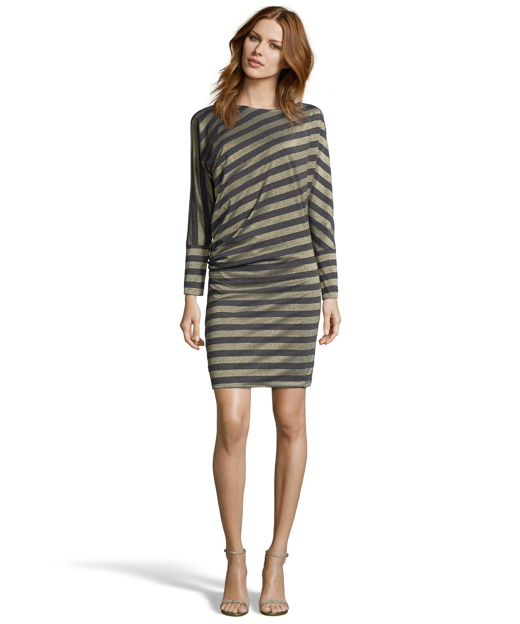 Greylin charcoal and metallic gold striped stretch long sleeve dress