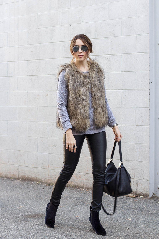 faux fur vest, grey sweater, leather pants
