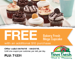 Free Mega Cupcake @ Farm Fresh w/ Purchase