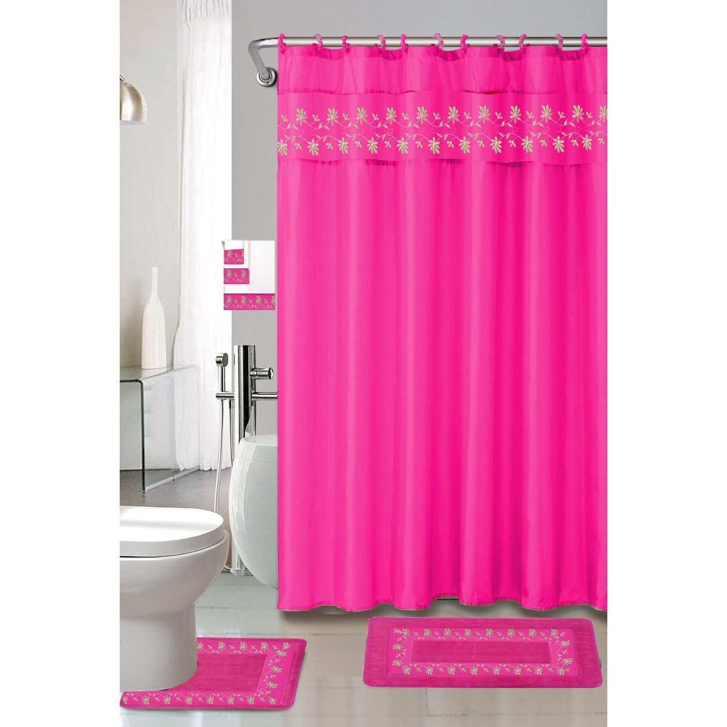 Kashi Home Thea 15 Piece Shower Curtain Bath Rug Set Fuchsia Hot