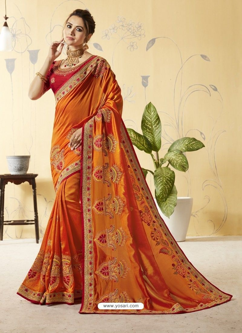 7d2b3e7c11 Orange Silk Stone Embroidered Party Wear Saree in 2019 | Silk sarees ...