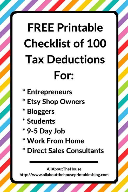 What Expenses Can I Claim? FREE Printable Checklist of 100 Tax