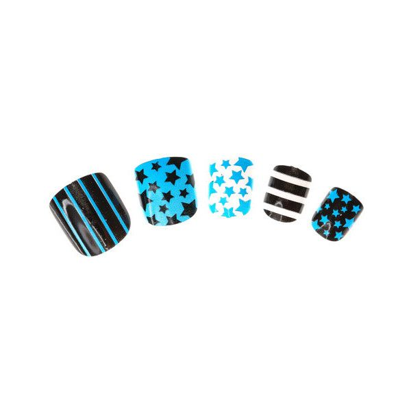 24 Pack Kids Blue Mix and Match Printed False Nails ($7.45) ❤ liked on Polyvore featuring nails