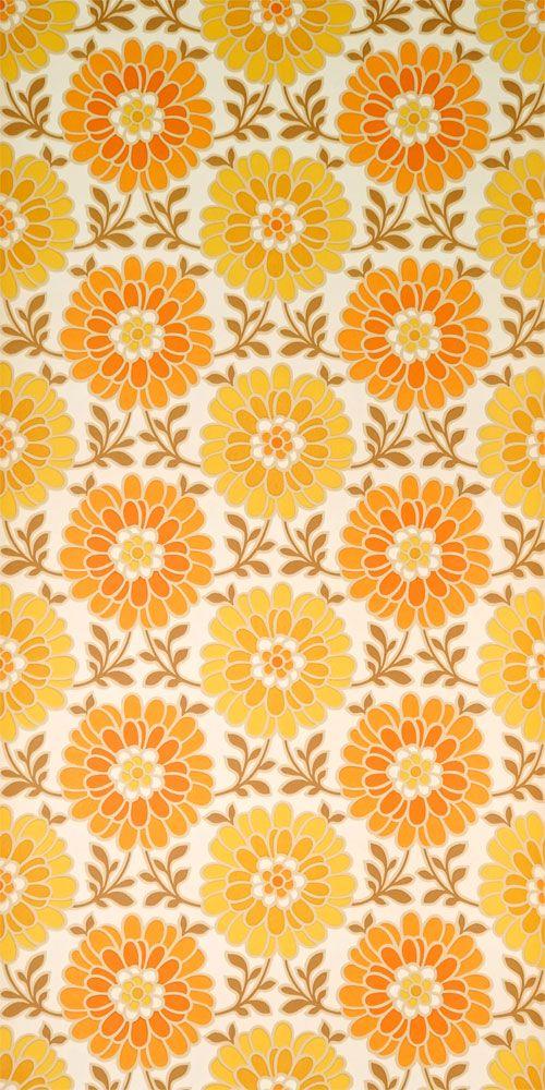 Er Jahre Tapete Mit Orangen Und Gelben Blumen Schon