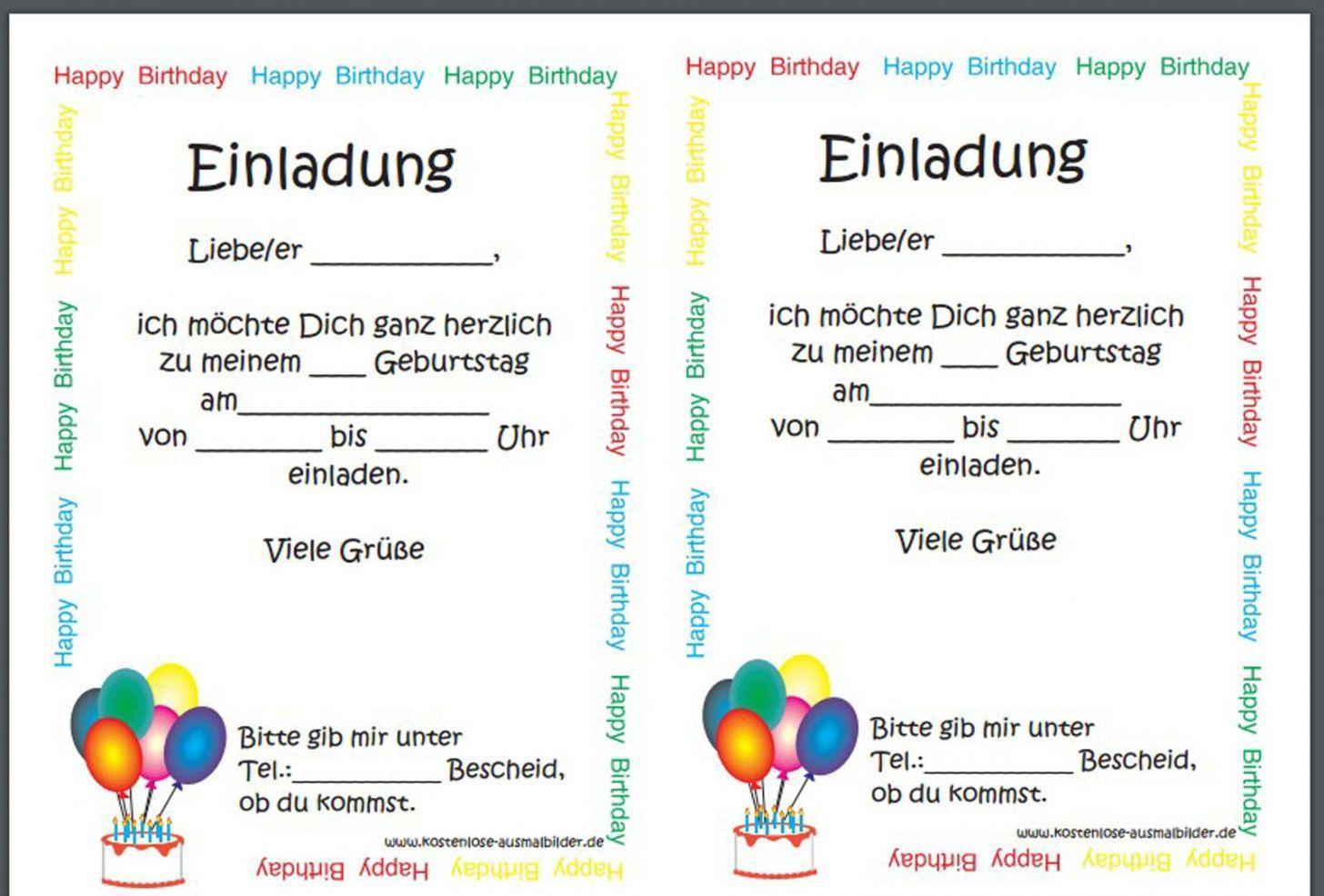 Einladungskarten Geburtstag Vorlagen Vorlage Einladung