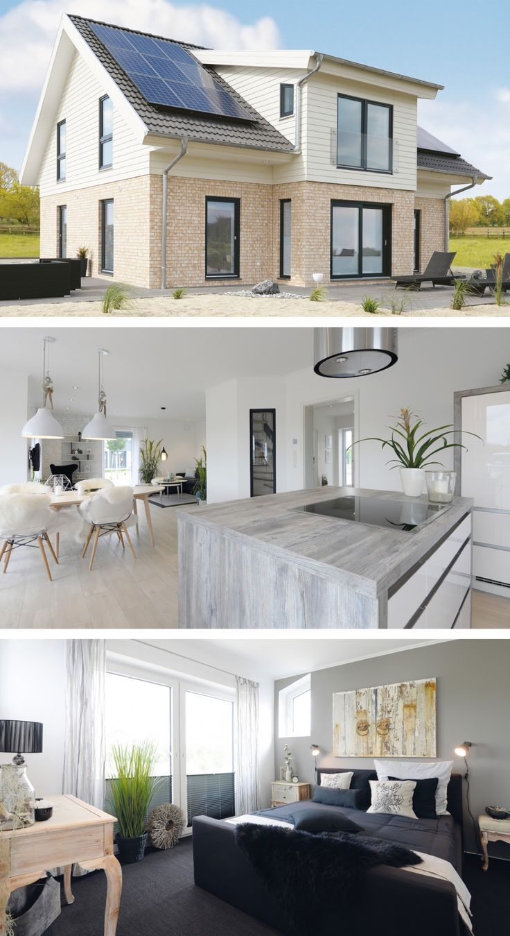 Einfamilienhaus skandinavischer Stil - Haus Schönhagen Danhaus - Fertighaus mit Satteldach bauen - HausbauDirekt.de - Today Pin #buildingahouse