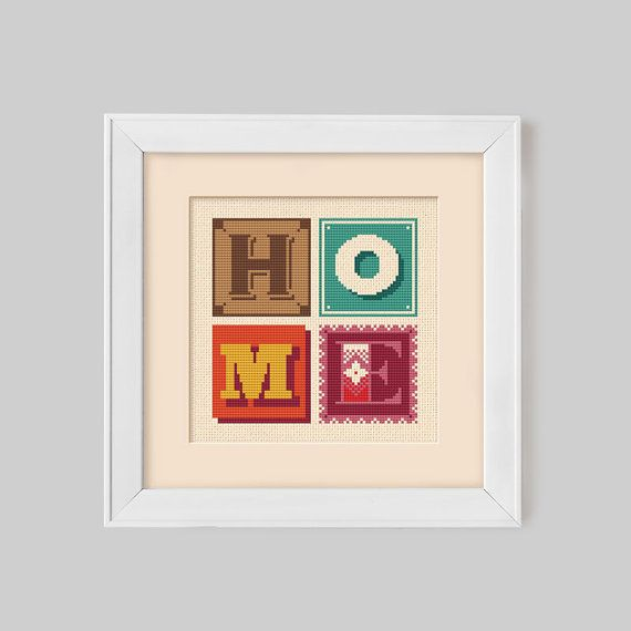 HOME Retro Typographic Cross Stitch Pattern Digital by Stitchrovia, £4.50