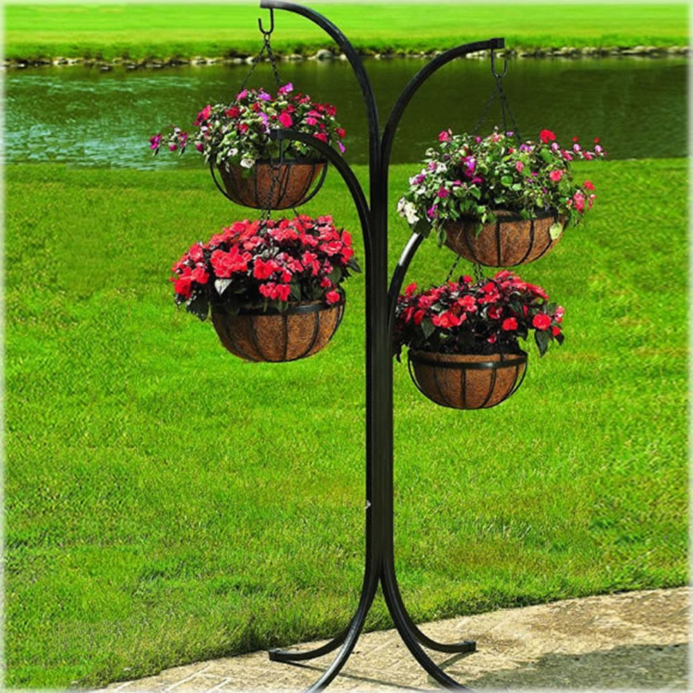 Perfect NEW Hanging Basket Planter Wrought Iron Free Standing Lawn Ordainment  Display