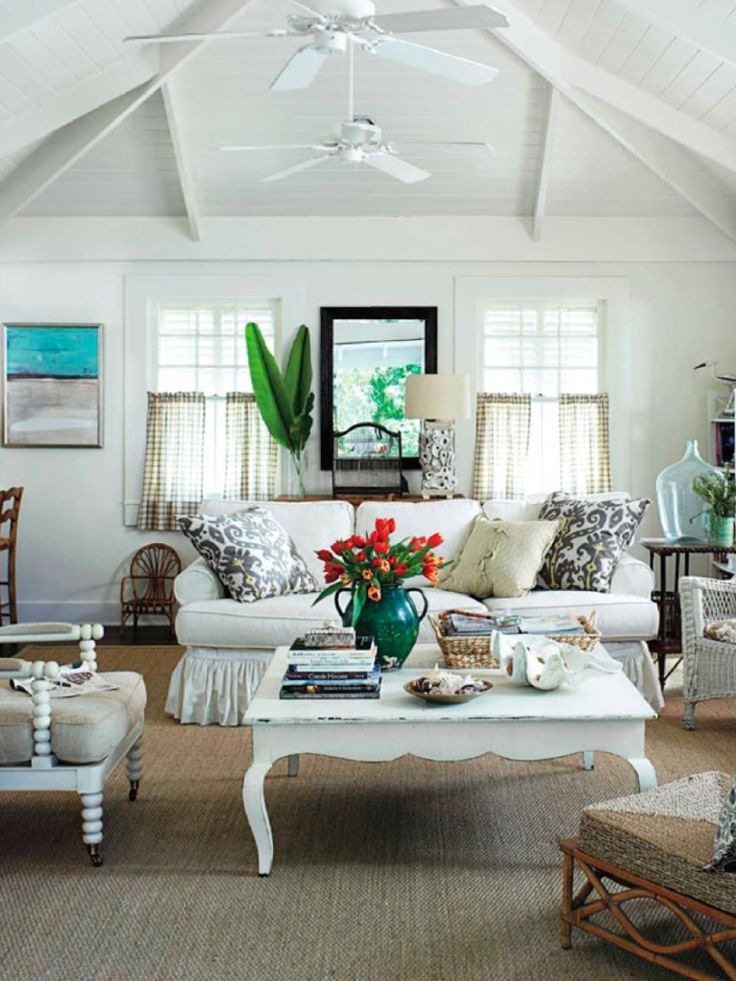 Learn how to design a room in a style you'll love. Beach cottage living room | Cottage style living room