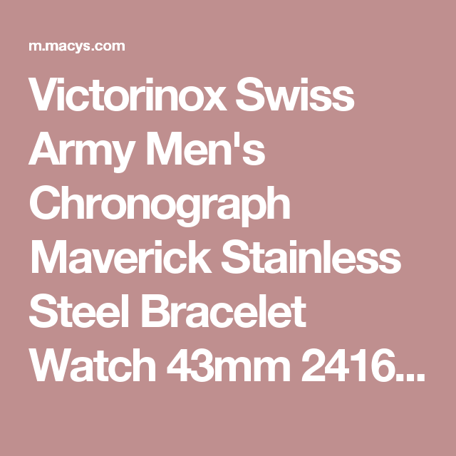 117b78ff36ce Victorinox Swiss Army Men s Chronograph Maverick Stainless Steel Bracelet  Watch 43mm 241689 - Watches - Jewelry   Watches - Macy s