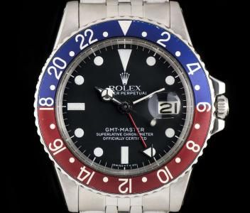 Rolex Vintage GMT,Master Gents Stainless Steel Black Dial