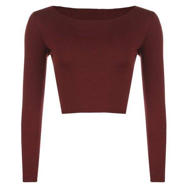 77aae1880bb WearAll Women's Crop Long Sleeve Ladies Plain T-Shirt Top: Amazon.ca:...  ($10) ❤ liked on Polyvore featuring tops, shirts, red long sleeve top, red  top, ...