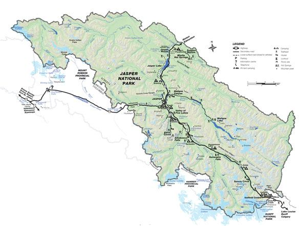 Jasper National Park Map Jasper Park Map | Banff/Jasper | National parks map, Jasper park