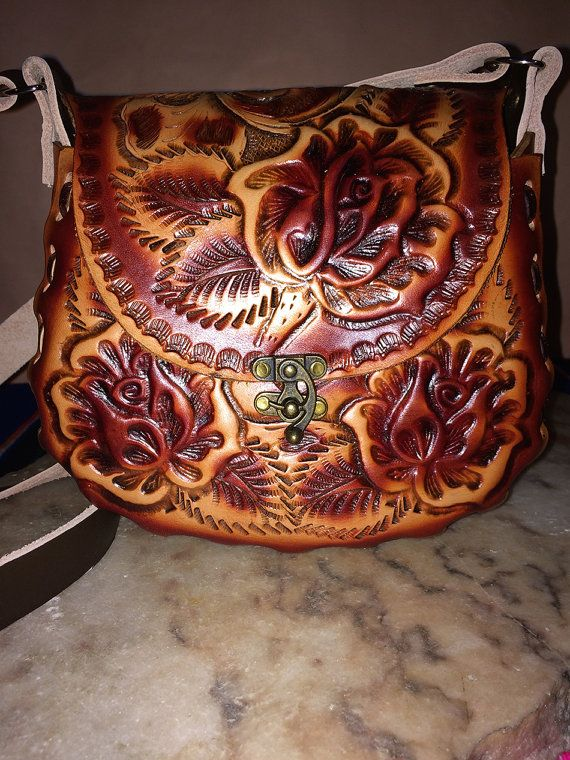 Authentic Hand Tooled Leather Purses Traditional Mexican Flower Designs On Genuine