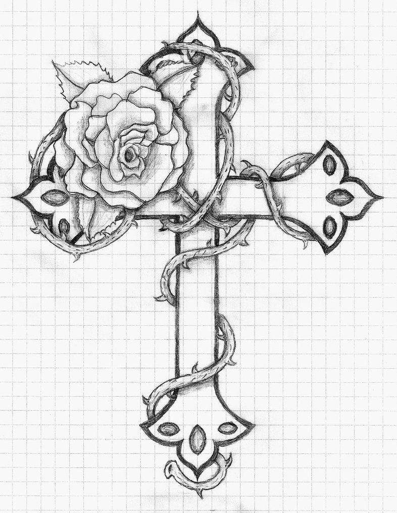 Cross Tattoo Line Drawing : Rose and cross by balloon fiasco on deviantart line