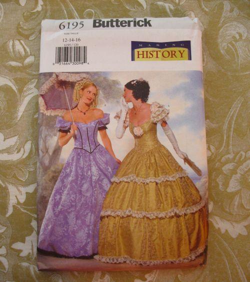 Butterick 6195 Sewing Pattern Civil War Ball Gown Dress 12 14 16 ...