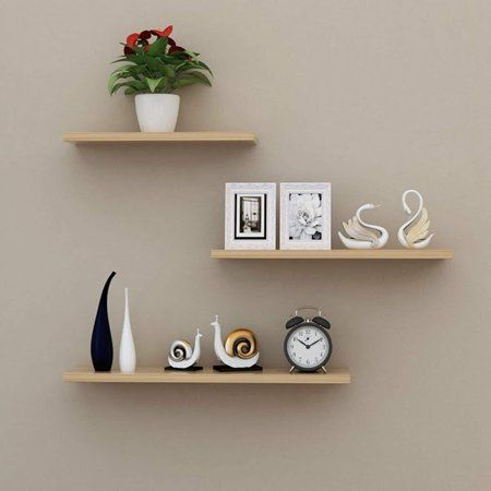 3 Pcs Set Wall Floating Board Home Storage Shelves Book Shop