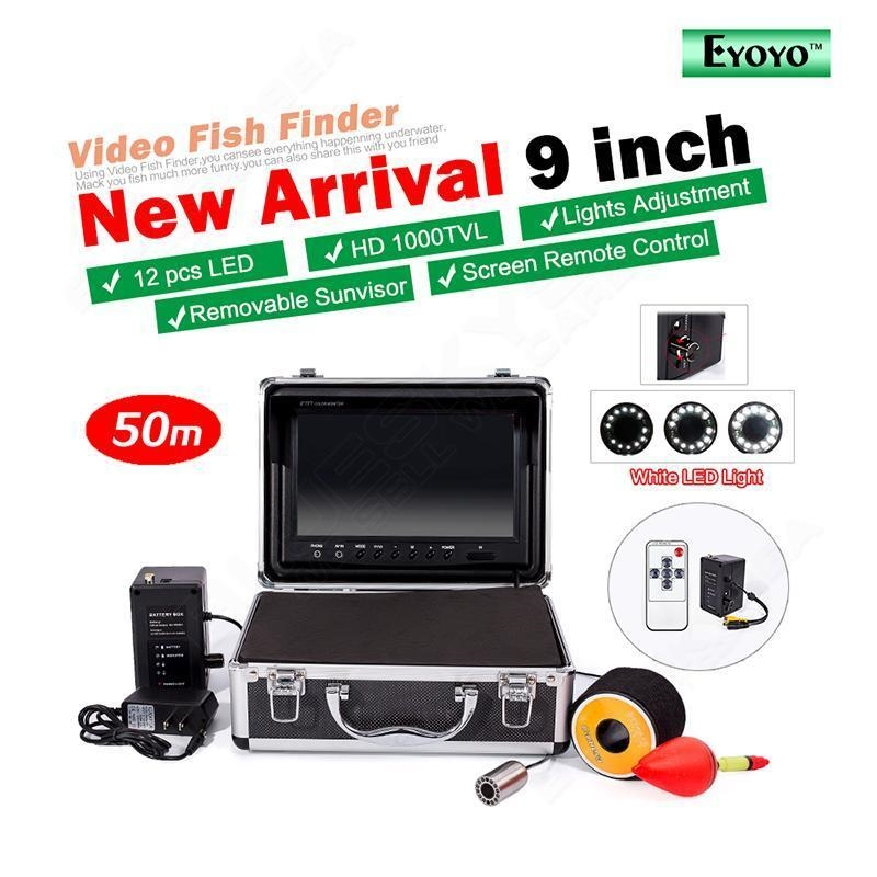 "201.52$  Watch here - http://aliay9.worldwells.pw/go.php?t=32726577707 - ""Free shipping! EYOYO 50M Fish Finder Stainless Steel Underwater Fishing Camera 9"""" LCD Cell Box"""