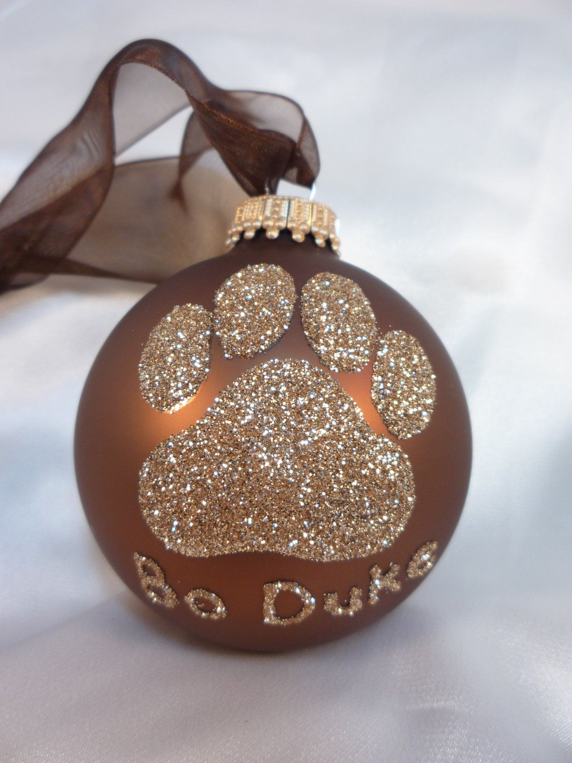 Personalized cat christmas ornaments - Dog Paw Print Glitter Christmas Ornament Your Choice Of Color Personalized Pet Doggie Glass Ball Chocolate Brown And Gold K9 Dog Lover