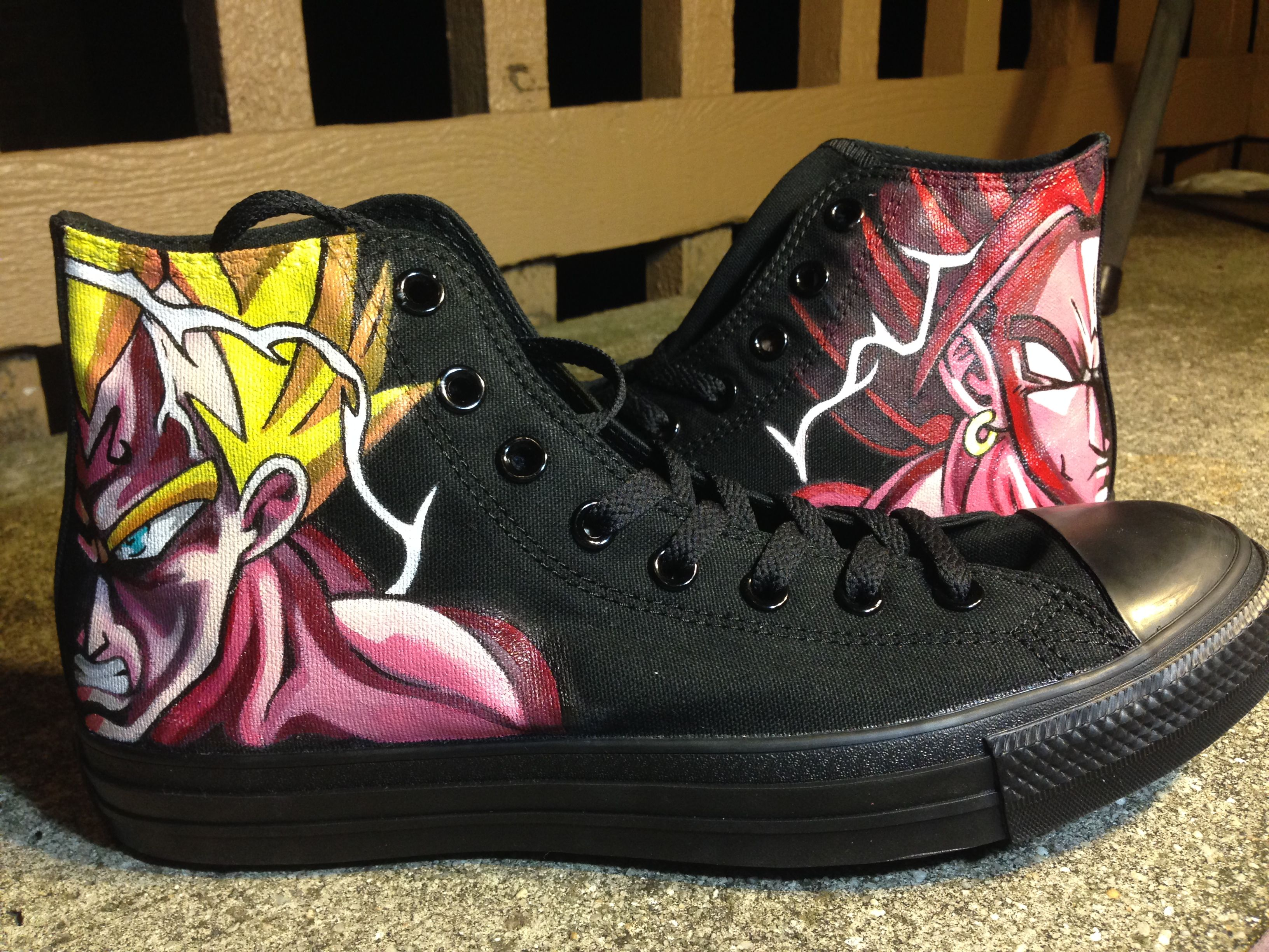 ANY SIZE Custom Hand Painted Dragon Ball Z, Broly and Vegeta Supersayan Vans