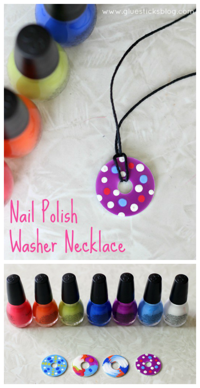 Nail Polish Washer Necklaces: a Fun Craft Activity for Kids and Teens -   17 diy projects For School nail polish ideas