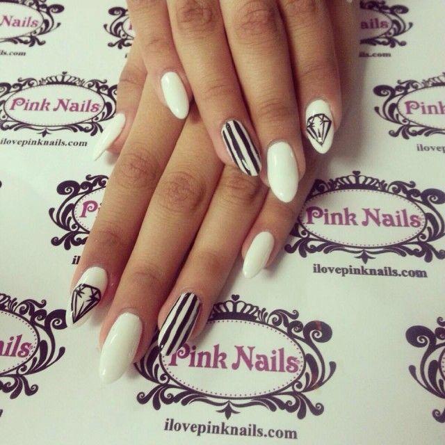Black and White Diamond Nails