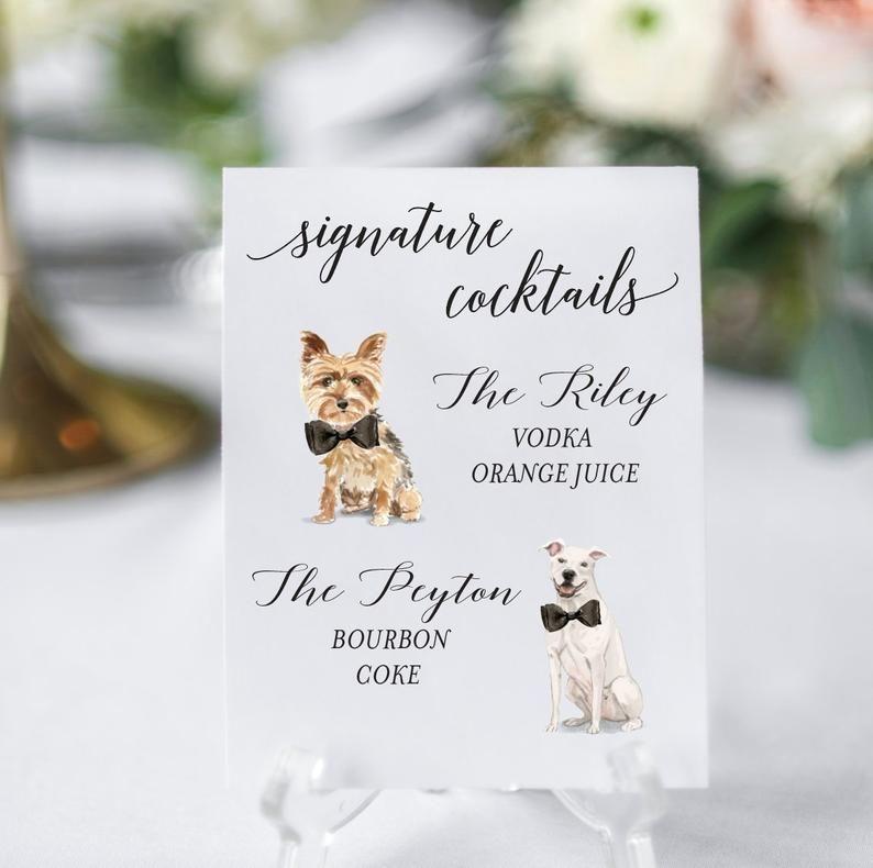 Dog signature cocktails sign two dog signature drink bar