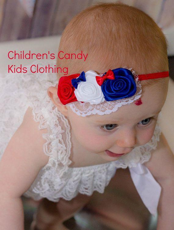 White and Blue Headband-Baby Girl Headband-Independence Day Headbands-Hair Accessories 4th of July Headbands-Patriotic Headbands-Red
