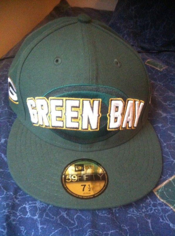 Green Bay Packers 59Fifty Flat Bill Fitted Hat 7 1 2 NFL New Era Draft 20b467fbd2b9