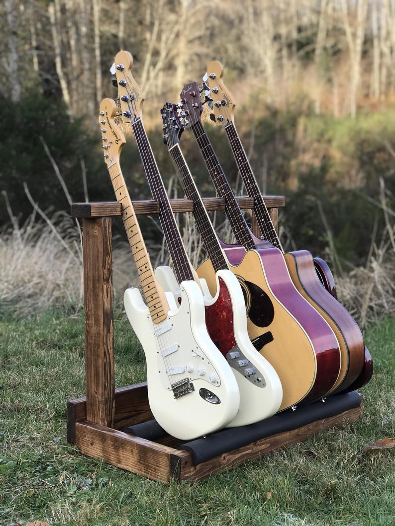 Wooden Guitar Rack Guitar Case Instrument Holder Home Etsy Guitar Rack Guitar Guitar Case