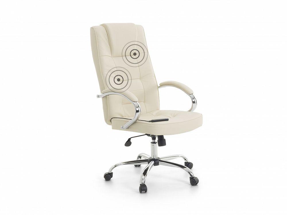 Fauteuil massant chaise de bureau simili cuir beige et pied