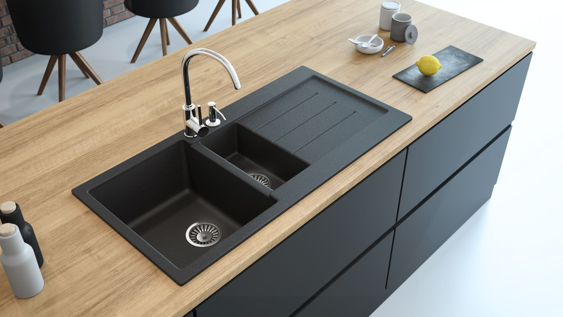 39 Granite Composite Drop In Double Bowl Kitchen Sink With Drainboard Lavello Decoro 150lt Lavello Sinks Double Bowl Kitchen Sink Drainboard Sink Granite Kitchen Sinks