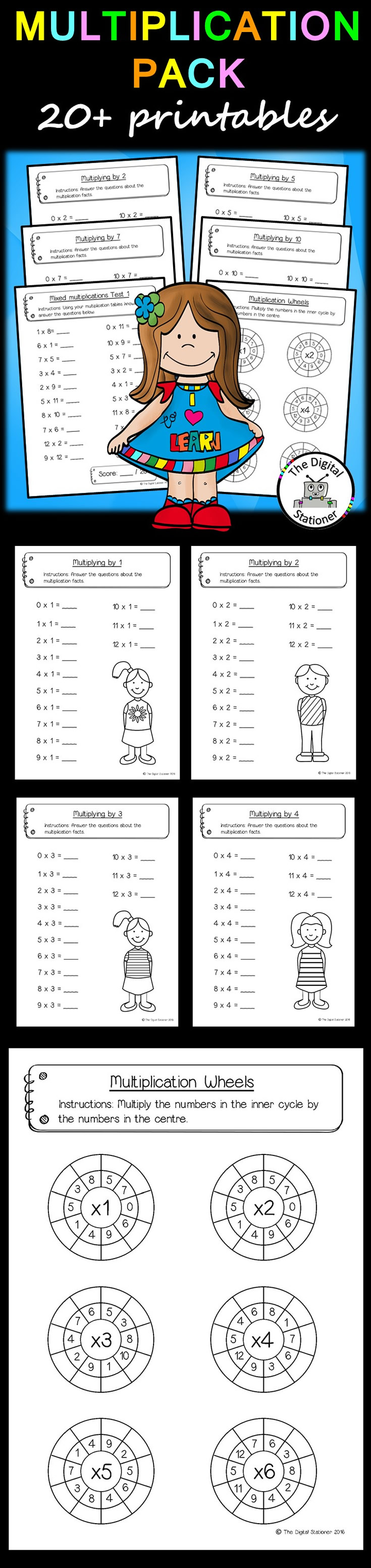 Multiplication Pack 12 X 12 20 Printables Multiplication Math Resources Math