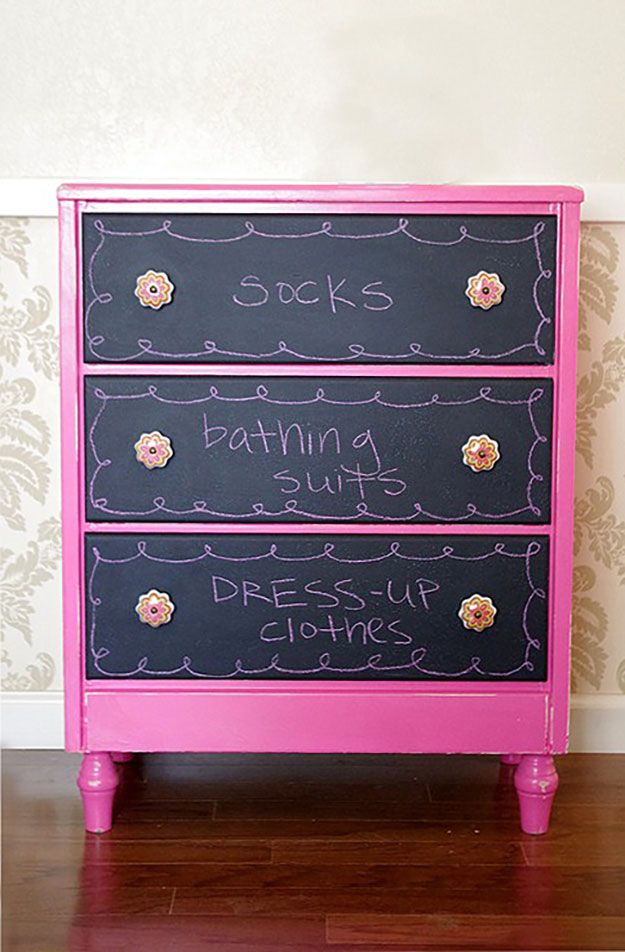 DIY Teen Room Decor Ideas For Girls | DIY Chalkboard Dresser Drawers | Cool  Bedroom Decor
