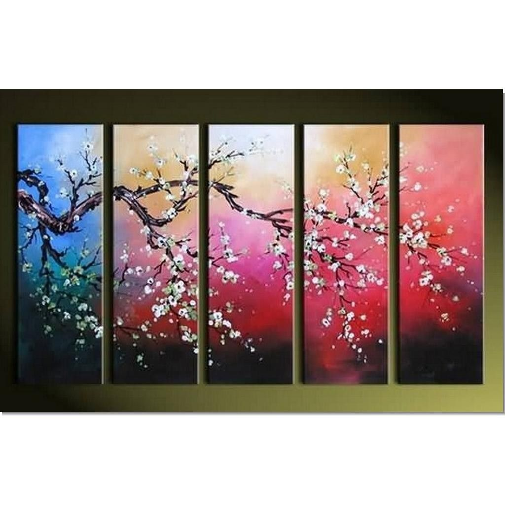 3 Piece Purple Cherry Blossom Muti Panel Abstract Modern: Acrylic Abstract Painting 5