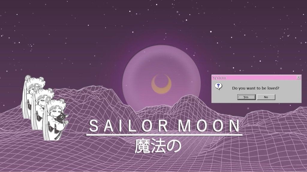 My Attempt At A Vaporwave X Sailor Moon Wallpaper Vaporwaveart Sailor Moon Wallpaper Sailor Moon Vaporwave Wallpaper