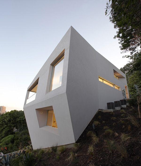 Haus am Hang von Johnston Marklee u2026 Pinteresu2026 - geometrische formen farben modernes haus