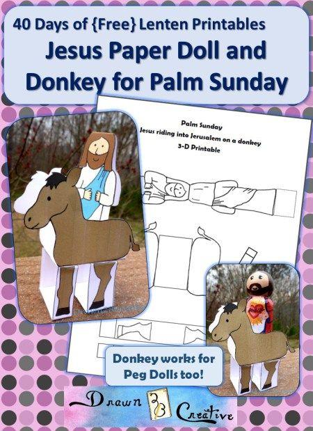 Palm Sunday Paper Doll Jesus and Donkey | Craft Ideas | Pinterest ...