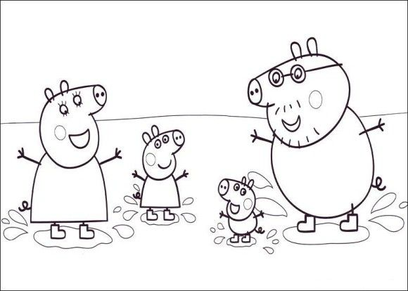 Happiness Family Peppa Pig Coloring In Pages