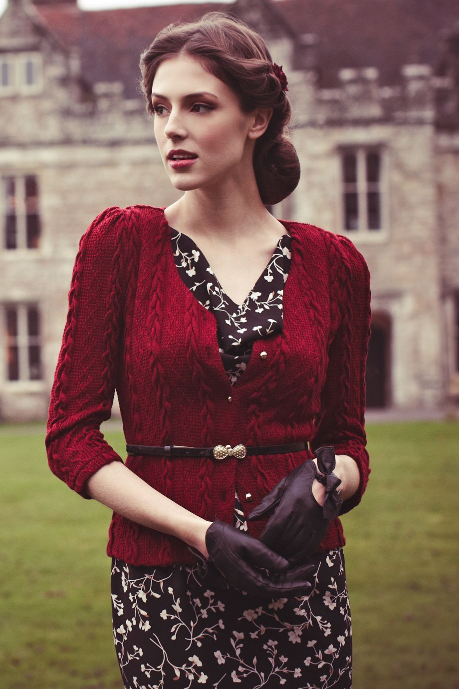bray british style fitted cardigan in port love the slightly puffed