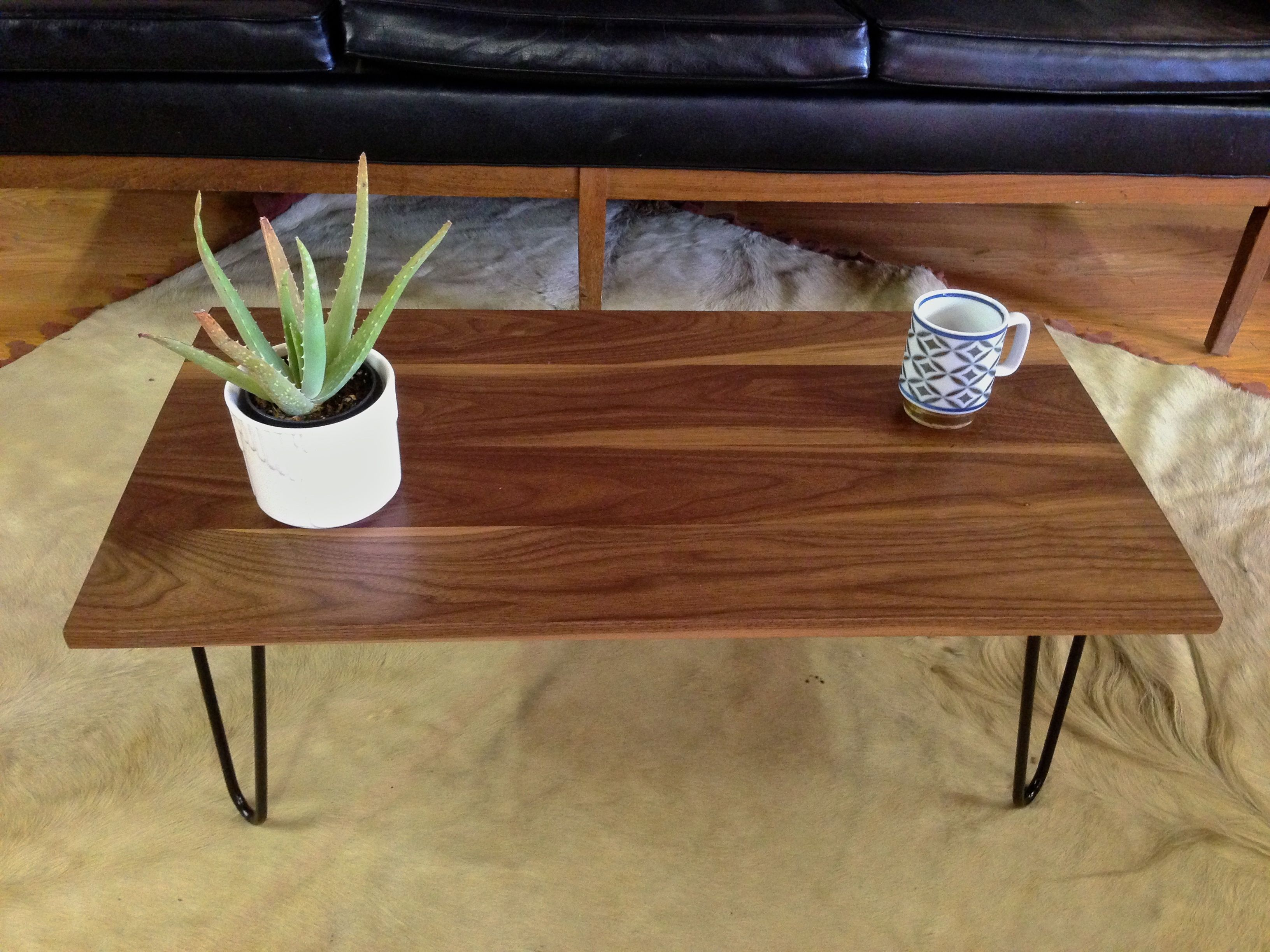 solid wood desk hairpin legs Google Search