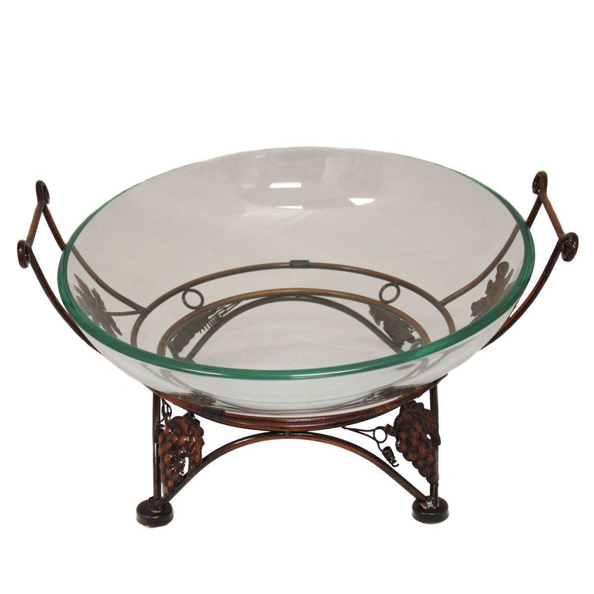 Terrific Urban Glass Decorative Bowl With Grape Leaf Metal Stand Kh Gmtry Best Dining Table And Chair Ideas Images Gmtryco