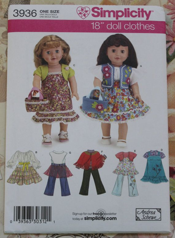 Simplicity Creative Patterns Simplicity Patterns Costumes for 18 Inch Dolls Size: One Size One Size 8111