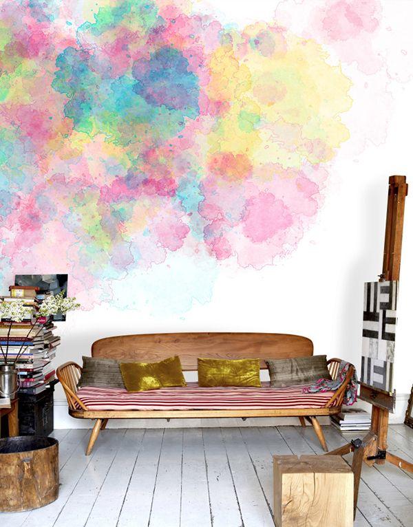 Colour Firework Watercolour trend on wallpaper