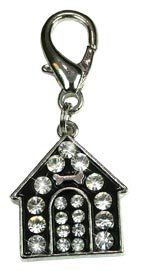 OmniPet Rhinestone Dog House Pet Charm Silver ** Learn more by visiting the image link.